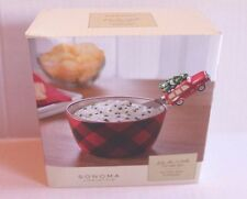 Sonoma Into the Woods Christmas Holiday Dip Mix Set Red Plaid Bowl & Spreader