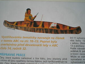 Indian Canoe Czech rare Paper Model
