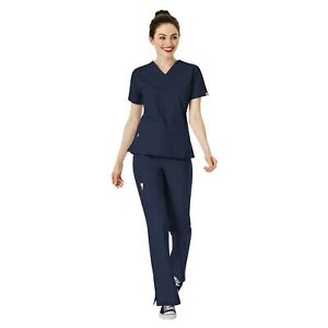 WonderWink Scrubs Set ORIGINS Women's V-Neck Top Flare Leg Cargo Pant 6016/5026