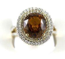 Round Orange Zircon & Diamond Cocktail Solitaire Ring 14k Yellow Gold 8.00Ct