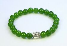 Nephrite green jade 8mm bead elasticated bracelet, silver alloy Buddha charm