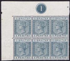Gibraltar 1889 SG33 5p Slate-Grey Unmounted Mint Plate Block of 6 Rare