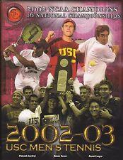 2002-03 USC TROJANS TENNIS TEAM MEDIA GUIDE  MENS AND WOMENS  FREE USA SHIPPING