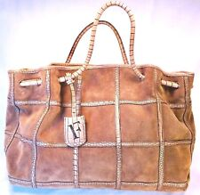Furla Drawstring Two Handle Tan Suede Tote Leather Strapping Trim