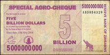 ZIMBABWE Currency Bank Note 5000000000 Dollars (Five Billion Dollars)
