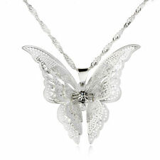Hot Women Fashion Jewelry Openwork Butterfly Silver Plated Necklace Pendant Gift