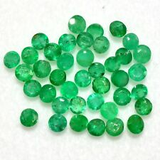 Natural Emerald Round Cut 2 mm Lot 39 Pcs 1.75 Cts Brazil Green Loose Gemstones