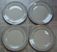 Set of 4  LENOX FINE CHINA CHARLESTON  DINNER PLATES FLORAL BORDER PLATINUM TRIM