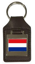 Leather Keyring  Engraved The Netherlands Flag