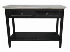Hall Table with Shelf, Timber, Black, 2 Drawers, W.100xD.35xH.75cm, Naples.