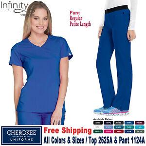 Cherokee Scrubs Set INFINITY Women's New Mock Wrap Top & Pants 2625A/1124A