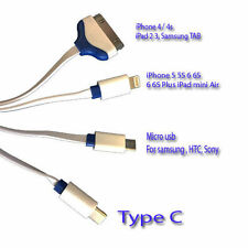 4 in 1 MULTI USB Long PHONE CHARGER CHARGER MULTI CABLE LEAD FITS APPLE DEVICES
