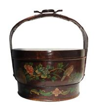 Chinese Hand Painted Birds & Flowers Graphic Bamboo Strip Basket f346