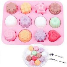 12 Cavity Cake Biscuit Baking Mold Cookies Chocolate Mold Pan Muffin Cups Flower