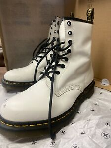 Dr. Martens 1460 Women's Smooth Leather Lace Up Boots - White [11W] *PRE-OWNED*
