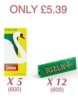 600 Rizla Green Papers & 600 Swan Extra Slim Filter Tips - Only £5.39 COMBI