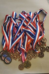 Gymnastics Medals Lot of 23 assorted Gymnasts Awards on 🇺🇸 Ribbons