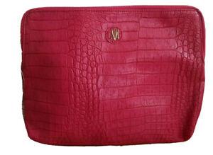 NEW Neiman Marcus Clutch Faux Leather Red Zip Around Bag Handbag Medium