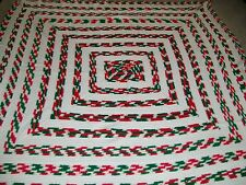 homemade crocheted queen size afghan colors red white green  new bed spread HOLI