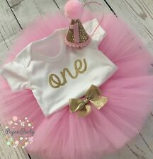 Pink And Gold Cake Smash/1st Birthday Outfit With Mini Party Hat