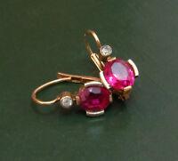 Erstklassige 750er Jugendstil GOLD-OHRRINGE m. RUBIN u. Diamant ~1900 •