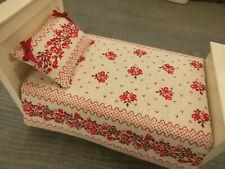 Miniatur-BETTWÄSCHE,wattierte Tagesdecke+Kissen-für Einzelbett 1:12 Puppenstube,