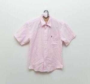 Polo by Ralph Lauren Mens Pink Stripe Short Sleeve Button Front Shirt - sz L