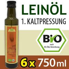 Bio-Leinöl - 1. Kaltpressung - tägl. frisch gepresst - 6 x 750 ml - Leinsamenöl