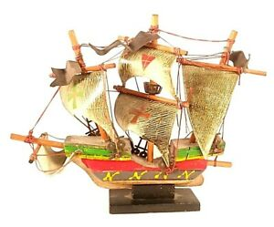 "Vintage Santa Maria Wooden Tall Clipper Sail Ship Model 8""x9.75"""