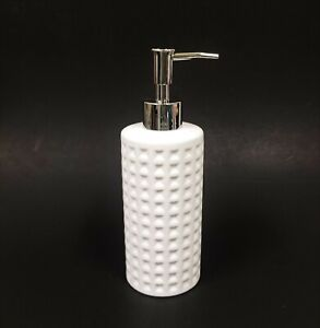 NEW 3D TEXTURED WHITE CERAMIC SOAP LOTION DISPENSER WITH SILVER CHROME PUMP