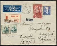 828 - Francia - Raccomandata via aerea da Parigi a Zagabria (Croazia), 1944