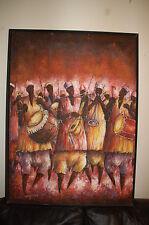 Orig painting - 41 x 31 Ghana African artist painter Eric Borketey Orange Modern