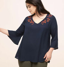 Brand New Avenue Navy Blue Plus Size Puff Print Crepe Top - Size 2x (18-20)