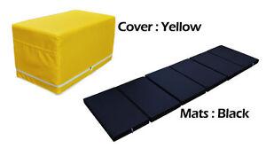 MULTI PURPOSE S.LEATHER MAGIC BOX YOGA GYM CUSHION FOLDABLE MATS YELLOW COLOR