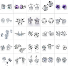 Wholesale Women Girl 925 Sterling Silver CZ Earrings Ear Stud Jewelry 56 Style