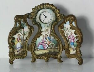Small Antique Late 19thC French Bronze & Enamel Triptych Miniature Clock
