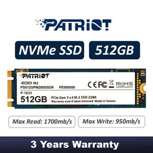 Patriot SCORCH 512GB PCIE Gen3.0 x2  NVMe 1.2 SSD PS512GPM280SSDR 3 Years