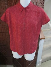 Women's Columbia Titanium Short Sleeve Shirt Red Large Polo Nice Pattern