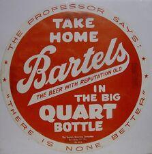 1940's Bartels In The Big Quart Bottle Paper Tacker Sign - Edwardsville, PA