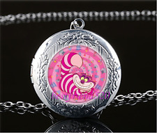 Pink Cheshire Cat Photo Glass Tibet Silver Chain Locket Pendant Necklace#AJ95