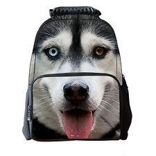 New 3D Husky Dog School Bag Travel Hiking Outdoor Backpack Men Women Laptop Bag