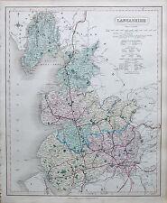 1845  LARGE ANTIQUE COUNTY MAP - RAILWAYS, LANCASHIRE PRESTON LEIGH LIVERPOOL