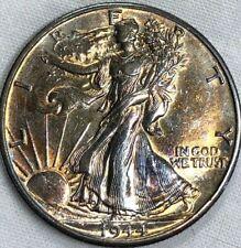 1944-D Silver Walking Liberty Half Dollar 50c ~ Brilliant Unc & Monster Toned