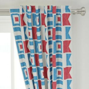 """Nautical Flags Abstract Geometric Sand 50"""" Wide Curtain Panel by Roostery"""