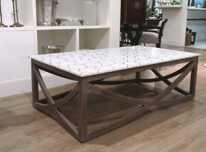 White marble with brass metal pattern and wood coffee table