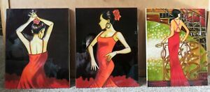 Decorative Hand Painted Ceramic Art Wall Tile Set Of 3