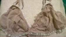 Bodas Taupe Nude Pure Silk Cream Lace Soft Bra 36B 80B Hipster Thong 8 XS 36