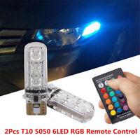 2PCS T10 6SMD W5W 5050 RGB LED Multi Color Light Car Wedge Bulbs Remote Control