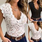 Women Slim Fit Leotard Floral Lace Jumpsuit T Shirt Bodysuit Romper Crochet Tops