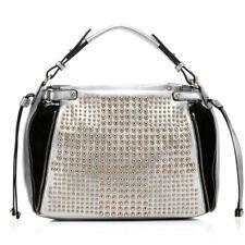 Noble Bags Mexxima Silver Black Rivets XL Tote Damen Lederhandtasche *UVP 189€*
